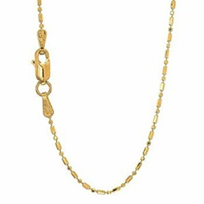 """14K Yellow Or White Gold 1.00mm Shiny Diamond Cut Bar & Bead Chain Necklace for Pendants and Charms with Lobster-Claw Clasp (16"""""""