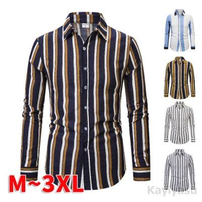 カジュアルシャツ メンズ ポロシャツ ストライプ柄シャツ 開襟シャツ 長袖 トップス ストレッチシャツ 春夏 ビジネス 通勤 スリム 男性用 ゆったり