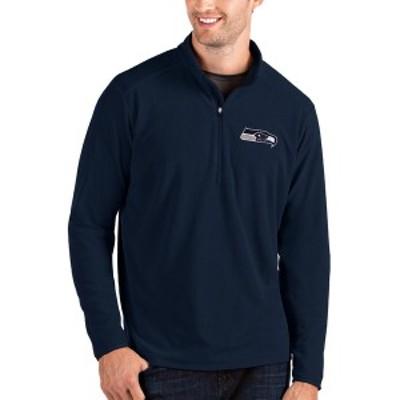 アンティグア メンズ パーカー・スウェットシャツ アウター Seattle Seahawks Antigua Glacier QuarterZip Pullover Jacket College Navy