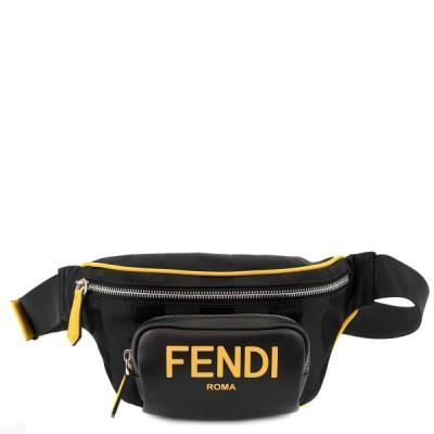 FENDI フェンディ ベルトバッグ 2020年-2021年秋冬新作 7VA483 メンズ ボディバッグ ショルダーバッグ ブラック×サンフラワーイエロー