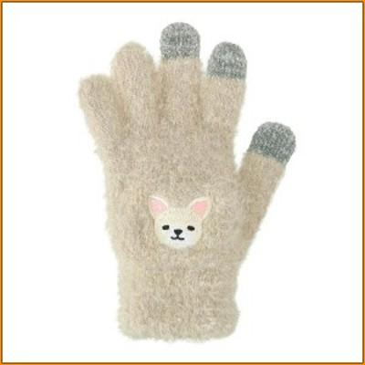スマホ手袋 白チワワ 17319631078 ▼つぶらな瞳が可愛いワンコのもふもふスマホ手袋