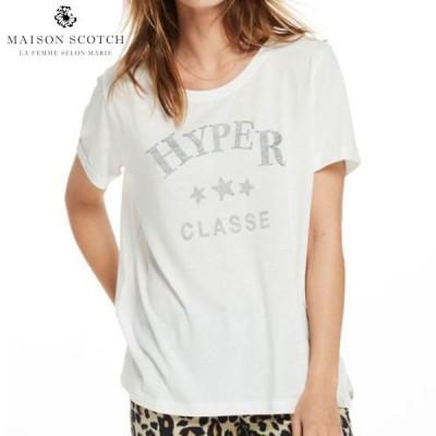メゾンスコッチ MAISON SCOTCH 正規販売店 レディース 半袖Tシャツ TEXT PRINT T-SHIRT 137360 1 OFF WHI