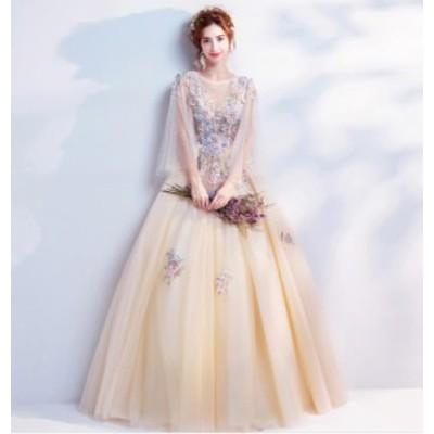 天使花嫁ウェディングドレス/結婚式礼服/パーティードレス/ワンピース/ドレス ロングタイプスカート/イブニングドレス披露宴/花飾り
