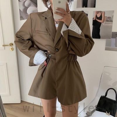 テーラードジャケット韓国オルチャンストリートダンス衣装原宿系ストライプ柄レトロアウター