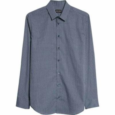 アルマーニ GIORGIO ARMANI メンズ シャツ トップス Geo Print Button-Up Shirt Blue
