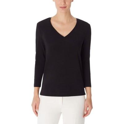アン クライン Anne Klein レディース Tシャツ Vネック トップス V-Neck T-Shirt Anne Black