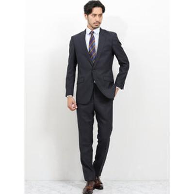 洗えるスラックス スリムフィット2ピーススーツ 組織 紺