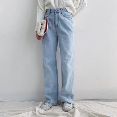ccomeng レディース ジーンズ Double Long Wide Denim Pants