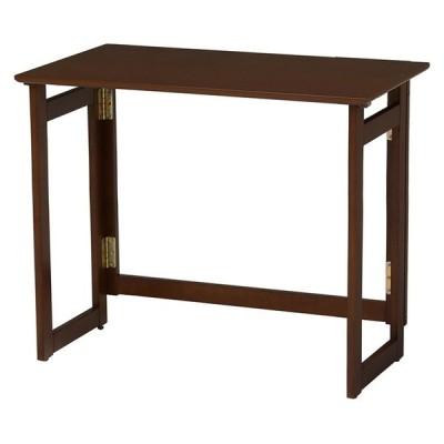 萩原 折りたたみテーブル VT-7812DBR テーブル 折り畳み式 簡単 代引不可