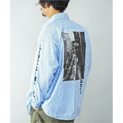 シャツ ブラウス ストライプバックガールフォトプリントビッグシャツビッグシルエット韓国韓流ストリート