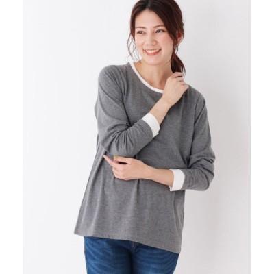 (SHOO・LA・RUE/シューラルー)レイヤード風クルーTシャツ/レディース ダークグレー(513)