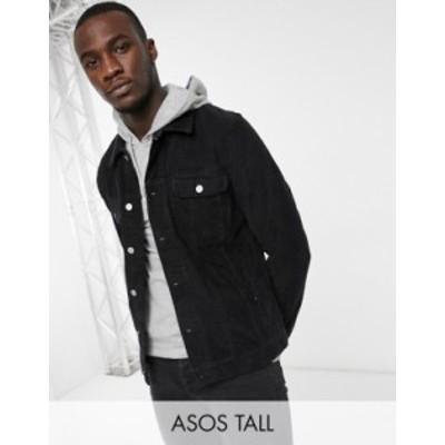 エイソス メンズ ジャケット・ブルゾン アウター ASOS DESIGN Tall cord western jacket in black Black