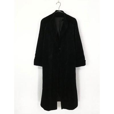 古着 レディース ジャケット 80s USA製 ビラック ベロア ロング丈 ガウン コート 黒 L位 古着