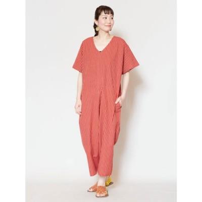 【チャイハネ】yul ストライプ織りオールインワン オレンジ
