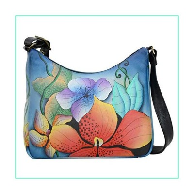 Anna by Anuschka Leather Hobo Shoulder Hand Painted Handbag Bag Large (Midnight Floral Classic)並行輸入品