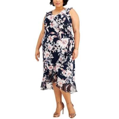 コネクテッド レディース ワンピース トップス Plus Size Floral-Print Midi Dress