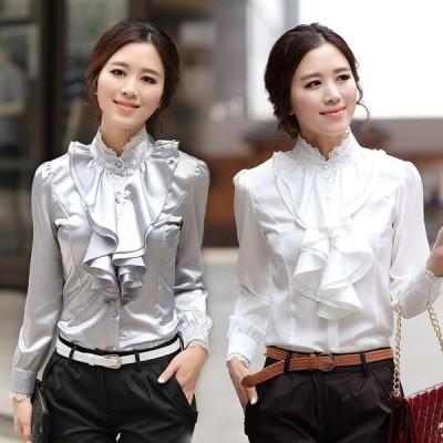 二点送料無料レディース 長袖 スプリング ブラウス サテン フリル シャツエレガント 通勤 OL 韓国ファッション 大きいサイズ オシャレ4色
