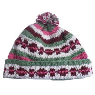 帽子 ネパール・手編みボンボン帽子44 クリックポスト選択 送料200円