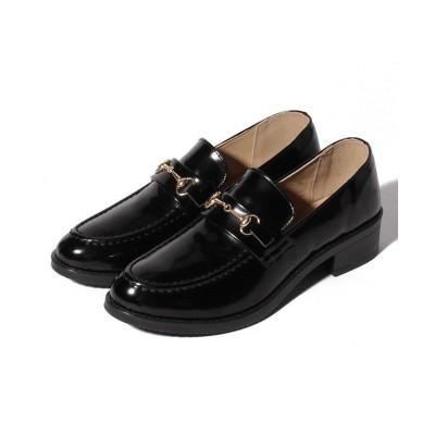 【シュークロ】 ビット付オックスフォードローファー レディース ブラックエナメル XS Shoes in Closet