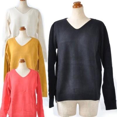 Vネックセーター V首 長袖 暖かい 折り返し袖  カジュアル ゆったりフィット 大きいサイズ 暖 アイボリー マスタード レッド ブラック M L LL 3L