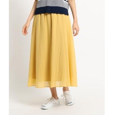◆【洗える】【ウエストゴム】コットンシフォンスカート