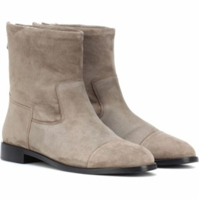 Bougeotte レディース ブーツ ショートブーツ シアリング シューズ・靴 suede and shearling ankle boots Light Grey