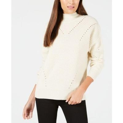 カルバンクライン ニット&セーター アウター レディース Cashmere Ribbed Turtleneck Sweater Ivory