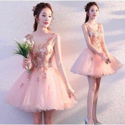 セール レディースドレス ワンピ 二次会 結婚会 ミニドレス 花嫁 膝丈 姫系 ウェディングドレス ウエディング パーティードレス ナイトドレス
