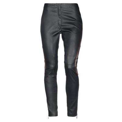VERSACE パンツ ブラック 46 革 100% / レーヨン / ナイロン / ポリウレタン パンツ