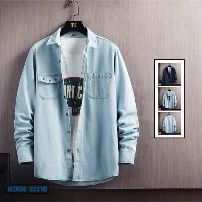 カジュアルシャツ 長袖 メンズ オシャレ 胸ポケット 大きいサイズ 長袖シャツ 開襟シャツ ワークシャツ 通勤