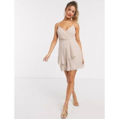 エイソス ASOS DESIGN レディース ワンピース キャミワンピ ワンピース・ドレス soft layered cami mini dress in blush ピンクティント