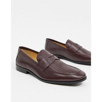 デューン Dune メンズ ローファー シューズ・靴 Embossed Loafers In Burgundy Leather レッド