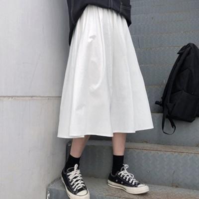 (miniministore/ミニミニストア)Aライン ロングスカート フレアスカート黒/レディース ホワイト
