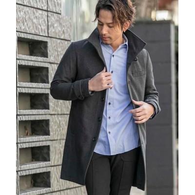 En serio TOKYO / ソフトメルトン / イタリアンカラー ロングコート MEN ジャケット/アウター > ステンカラーコート