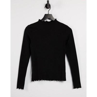オンリー レディース シャツ トップス Only t-shirt with lettuce edge and long sleeve in black