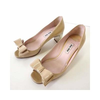【中古】ミュウミュウ miumiu パンプス エナメル オープントゥ リボン ビジュー ヒール 36 ベージュ 薄橙色 23.0cm くつ 靴 シューズ レディース