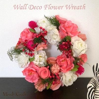 リース 造花 ウォールデコ フラワーリース 23cm インテリア 装飾ピンクブルーム ピンク バラ 白 玄関 ギフト 母の日 優良配送