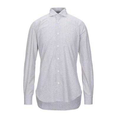 BARBA Napoli チェック柄シャツ  メンズファッション  トップス  シャツ、カジュアルシャツ  長袖 ライトグレー