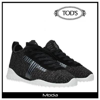 TOD'S トッズ スニーカー レディース 黒 ブラック フロントロゴ レースアップ