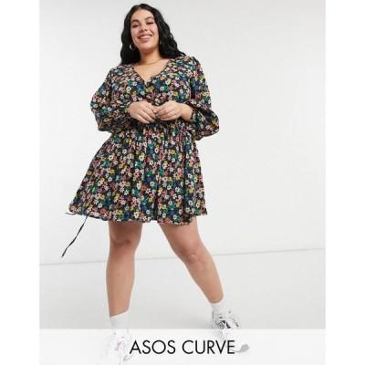 エイソス ASOS Curve レディース ワンピース ASOS DESIGN Curve long sleeve tie wrap around mini skater dress in dark based floral