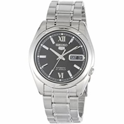 Seiko SNKL55 Mens Stainless Steel Case and Bracelet Automatic Black Tone Dial Watch