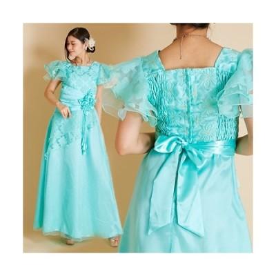 ロングドレス フラワーレース刺繍Aライン