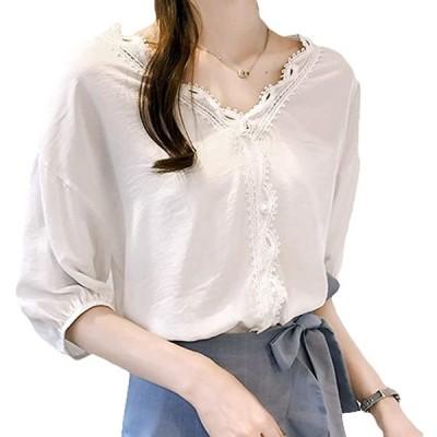 春 夏 春夏 秋 冬 レース ブラウス シャツ Tシャツ トップス フェミニン 綿 綿100 レディース 白(ホワイト, 2XL)