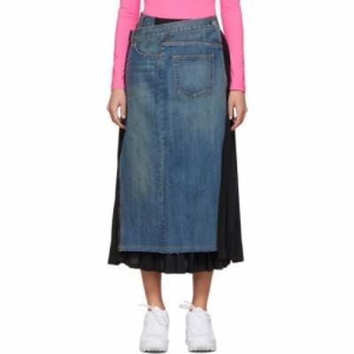 ジュンヤ ワタナベ Junya Watanabe レディース ひざ丈スカート デニム スカート Indigo Denim Pleats Skirt Indigo