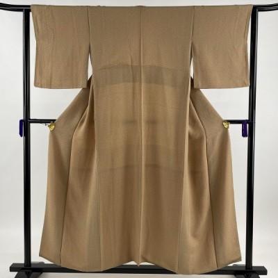 小紋 優品 紬 麻の葉 ちりめん 薄茶色 袷 164cm 63.5cm S 正絹 中古