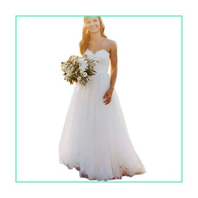 HDSLP Lace Strapless Wedding Dress Long Sweetheart Tulle Bridal Gown with Lace Up Ivory 6並行輸入品
