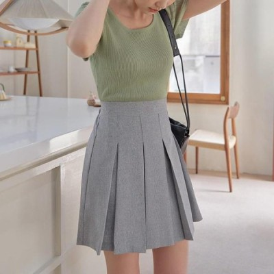 TWEE レディース スカート Moshell pleated banding mini skirt