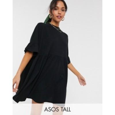 エイソス レディース ワンピース トップス ASOS DESIGN Tall super oversized frill sleeve smock dress in black Black