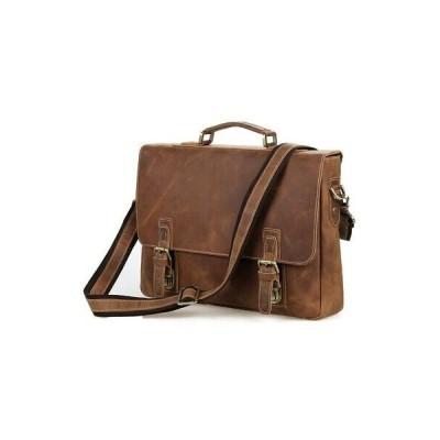 バッグ メンズ Men's Handbag Genuine Leather Bag Briefcase 15インチ Laptop Shoulder Bag Brown AJ29