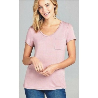 Tシャツ レディース エーシー MELLOW PINK Women Basic Short Sleeve Stretch V Neck  Loose Top With Pocket T Shirts